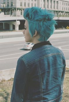 Short hair - pixie faux hawk in teal