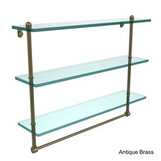 Elegant Allied Brass Glass 22 Inch Triple Tiered Shelf With Integrated Towel Bar  (Unlacquered Brass), Clear
