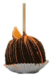 A caramel apple covered in orange flavored chocolate. It is then rolled in crushed Oreo cookies, drizzled with more orange flavored chocolate and milk chocolate. We garnish this apple with a an orange candy piece.