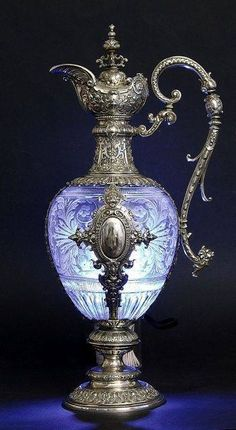 Silver and crystal ewer, 19th century