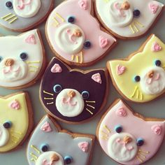 .Japanese Cat Cookies~ Micarina Japanese Cat Cookies - links to Japanese cookie blog - ideas only, #, Pink, Brown, White, Yellow, Grey