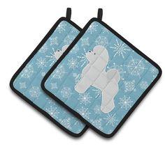 Winter Snowflake Bichon Frise Pair of Pot Holders BB3545PTHD