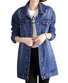 898115263fd0e LD Womens Boyfriend Loose Ripped Button Down Long Denim Jacket Coat Long Denim  Jacket