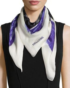 Printed Silk Square Scarf, Blue by Halston Heritage at Neiman Marcus.