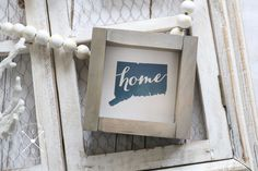 """Home STATE MAP SILHOUETTE Custom Wood Sign 5.5""""x5.5""""  