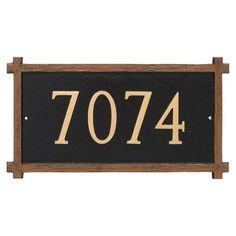 Montague Metal One Line Mission Oak Address Sign Wall Plaque - PCS-0025S1-W-