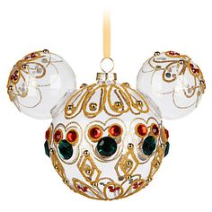 Mickey Mouse Icon Glass Ornament - Bejeweled, You're a gem! Item No. 7509055891019P $26.99  4 1/2'' H x 6'' W (at ears) x 3 1/2'' D