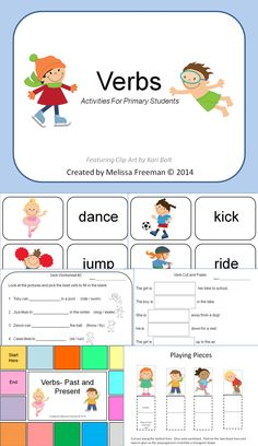 This Verbs Activities Package is aimed at first grade or ESL students (there are many visuals). It contains: * a verb poster * a verb matching game (in color) with 14 cards * 2 fill in the blank worksheets * a cut and paste verb worksheet * a past/present tense verb game (with game board, playing pieces and cards)