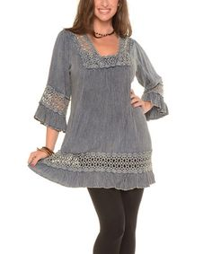 Another great find on #zulily! Denim Crochet Ruffle Tunic - Plus #zulilyfinds