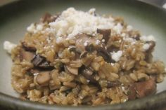 Baked oat groats with mushrooms, epazote & cotija cheese