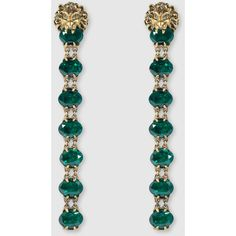 Gucci Lion Head Earring With Crystals ($1,235) ❤ liked on Polyvore featuring jewelry, earrings, gucci, silver & fashion jewelry, earrings jewellery, gucci earrings, gucci jewellery, chain earrings and swarovski crystal earrings