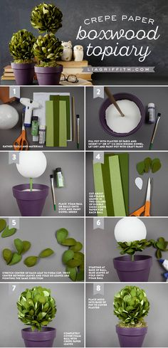 "Boxwood Topiary ""Create a gorgeous set of boxwood topiaries using foam balls & our extra fine double sided crepe paper, which includes four shades of green Crepe Paper Flowers, Fabric Flowers, Fake Flowers, Diy Flowers, Origami, Paper Plants, Paper Cactus, Papier Diy, Boxwood Topiary"
