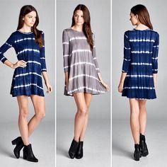 D5388 Loose fit three-quarter length sleeves round neck slight swing dress. This dress is made with medium weight tie-dyed knit jersey that is soft drapes well and has great stretch.  #cherishusa #cherishapparel #shopcherish #fallfashion #fashionbuyer #boutique #fashion #fashiondiaries #instafashion #instastyle #fashionstyle #ootd #fashionable #fashiongram #fallstyle #clothingbrand #fall2015 #fallfashion #dress #tiedye #swingdress http://bit.ly/cherish-D5388