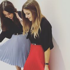 Pleats please! Mix up your look this holiday season with our pleated satin crepe midi skirts. Whether you're after baby blue or bright red for day time dressing or metallic bronze to foil black for a sharp evening look this statement piece has you covered.