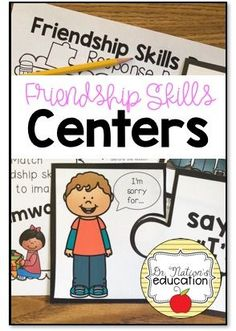 Centers for your School Counseling PreK and Kindergarten program on friendship skills Elementary Counseling, School Counselor, School Social Work, School Fun, Social Emotional Learning, Social Skills, Friendship Activities, Kindergarten Centers, Guidance Lessons