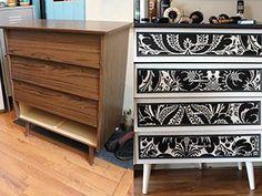 Este mueble horrible recibe un cambio dramático. Todo lo que necesitas es papel o tela. Sellador, unas molduras finas y pintura para melamina.