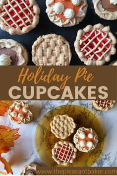 These thanksgiving pie cupcakes are so cute and easy to make! Follow along to my step by step tutorial!   #cupcakes #holidaycupcakes #thanksgivingdesserts #thepleasantbaker