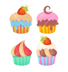 Set of tasty colorful muffins vector cupcakes by Yuzach on VectorStock®
