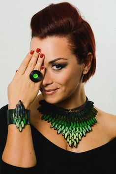 Chunky statement necklace and fashion ring set by MammaMiaArt