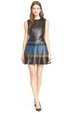 RED Valentino Leather Fit & Flare Dress available at #Nordstrom