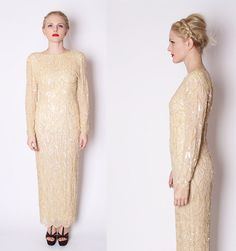 Art Deco Silk Champagne Nude Gold Full Sequin Beaded by aiseirigh