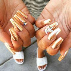 Beautiful #GoldChrome by @malishka702_nails 💖 Shop for #ChromePowder at… Gold Chrome, Chrome Nails, Chrome Powder, Nail Shop, Coffin Nails, Jewelry Accessories, Etsy Seller, Polish, Nail Art