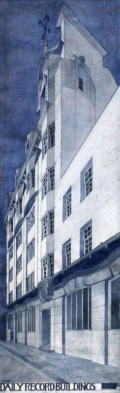 beautiful rendering of Charles Rennie Mackintosh' Daily Record Buildings, to be on display in London next month (via @archdaily)