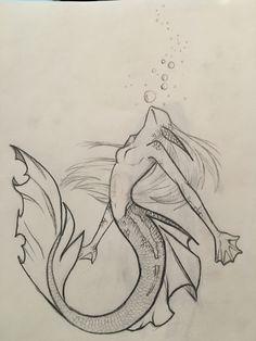 Mermaid Drawings, Creepy Drawings, Dark Art Drawings, Fantasy Drawings, Art Drawings Sketches Simple, Pencil Art Drawings, Mermaid Art, Cool Drawings, Fantasy Art