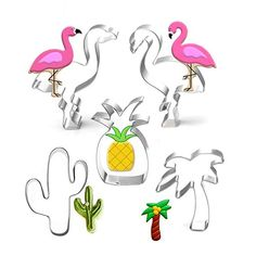 7-Almond 5PCS Tropical Beach Party Cookie Cutter Hawaiian Cookie Cutter Flamingos Palm Tree Pineapple Cactus Cookie Cutters Cookie Molds: Gateway Hawaiian Cookies, Beach Party, Palm Trees, Cookie Cutters, Pineapple, Almond, Cactus, Tropical, Palm Plants