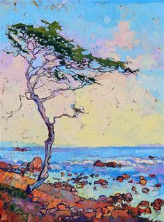 Monterey cypress tree oil painting for sale by modern landscape painter Erin Hanson