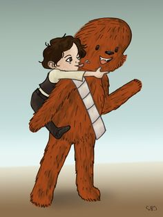 Han Solo and Chewbacca :) If they knew each other as a child, they would have been very close to each other;) Pencil, pencil, coloring Photoshop CS6