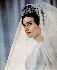 Francesca Borbon-Parma in the day of her wedding with Edouard Lobkowicz. 1959
