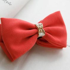 Bow Hair Clamp Red - One Size Clamp, Silver Jewelry, Bows, Gemstones, Pendant, Red, Hair, Accessories, Fashion