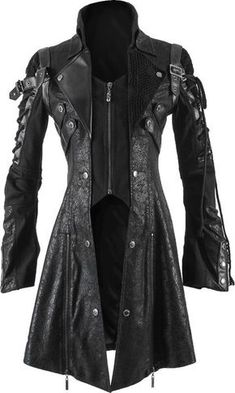 A distinctive women's jacket by gothic clothing brand Punk Rave, black, rugged and elaborately detailed with straps and strings on the sleeves.
