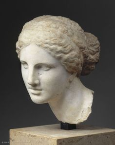 Female head, modeled from the Aphrodite of Cnidus, circa 150 BC, Turkey. Louvre