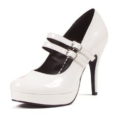 4 Inch High Heel Platform Mary Janes Double Strap Great For Womens Theatre Costumes White Size: 8 by UnknownTake for me t