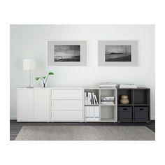 EKET Combinaison rangement avec pieds - blanc/gris clair/gris foncé - IKEA