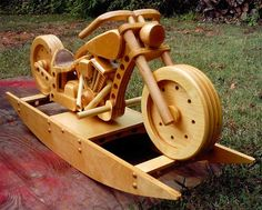 Motorcycle rocking horse plans This is hog heaven for many group A motorcycle buff who has The wheels really spin Motorcycle Rocker Antique Woodworking Tools, Woodworking For Kids, Woodworking Joints, Woodworking Workshop, Woodworking Crafts, Woodworking Plans, Woodworking Furniture, Woodworking Beginner, Intarsia Woodworking