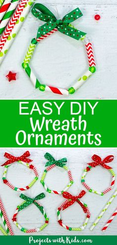 So bright and cheerful these kid made wreath ornaments are the perfect colorful addition to any Christmas tree. Easy and fun for kids of all ages to make! crafts Easy Kid Made Wreath Ornaments with Paper Straws Kids Crafts, Preschool Christmas Crafts, Christmas Activities For Kids, Holiday Crafts For Kids, Christmas Ornament Crafts, Christmas Projects, Christmas Themes, Christmas Fun, Christmas Tree Decorations For Kids