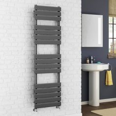 Francis Ladder Rail Designer Towel Radiator in Anthracite x Basin Sink Bathroom, Sink Taps, Towel Radiator, Heated Towel Rail, Shower Enclosure, Bathroom Furniture, Radiators, Bathroom Accessories, New Homes