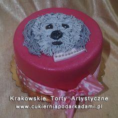 184. Rózowy tort z kudłatym pieskiem. Shaggy dog cake.