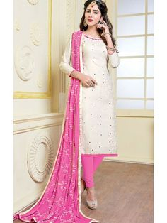 895e9e70f1 Buy online hot pink and off white colored cotton and najneen party wear  churidar suit. This beautiful party wear churidar suit is enriched with  embroidered ...