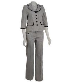 Nine West Women's 2-piece Mini Stripe Pant Suit