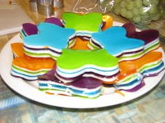 This is another version of the pretty gelatin dessert that alternates different colored gelatin with milky white layers. It has the consistency of Jello Jigglers, which makes it an ideal finger food for kids.
