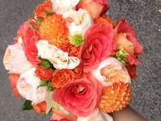 Coral, persimmon, chartreuse great colors to design bouquets in !