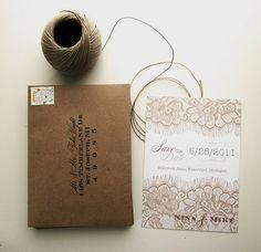 burlap & lace inspired wedding invites/envelopes