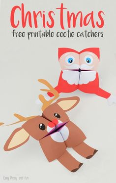 Free Printable Christmas Cootie Catchers Santa and Rudolph