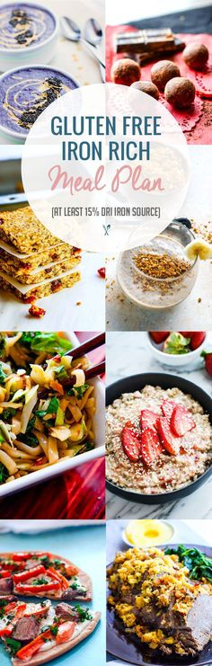 Healthy Iron rich gluten-free meal plan ideas! Boost your health and energy!  15% iron snacks and meals!  @Cottercrunch