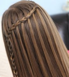 waterfall braid hairstyle i love the highlights and color of the hair Cute Girls Hairstyles, Pretty Hairstyles, Braided Hairstyles, Fashion Hairstyles, Style Hairstyle, Modern Hairstyles, Popular Hairstyles, Braids For Long Hair, Hair Dos