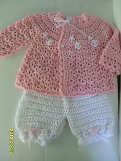 Crocheted set for baby girls 12 18 months Baby pink by MadebyMily, $22.00